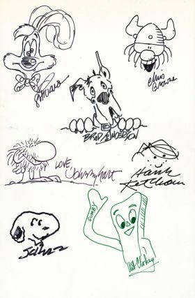 Signed Original Cartoon Sketches by various artists on one 4to white board. CARTOON ART