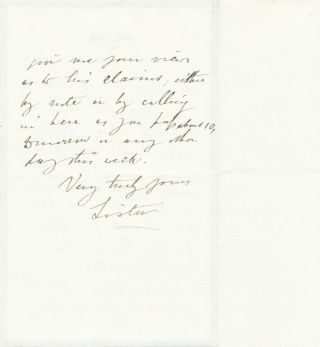 Autograph Letter Signed, 2pp on one 8vo folded sheet of black bordered printed address mourning stationery, Portland Place, March 1, 1897. JOSEPH LISTER.