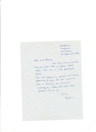 Autograph Letter Signed, 8vo, The Pelican, Langhorne, Carmarthen, 16 December, 1952. DYLAN THOMAS.