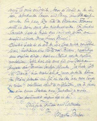 Autograph Letter Signed, in German, two pages on one 4to sheet, Deir Abou Tor, Jerusalem, November 30, 1946.