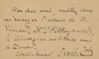 Autograph Note Signed on his visiting card, in French, small 12mo, n.p., n.d. EMILE ZOLA.