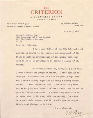 "Early Typed Letter Signed, 4to on ""The Criterion"" stationery, 4to London, July 8, 1938. T. S. ELIOT"