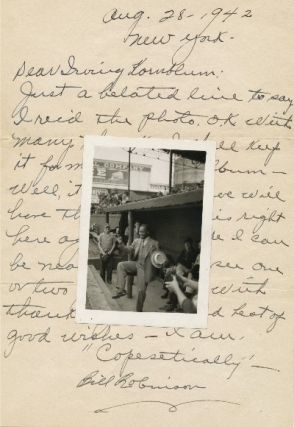 Scarce Autograph Letter Signed with Baseball content and original unsigned 12mo photograph, 4to,...