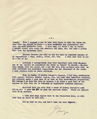 Typed Copy Letter Signed, 4to on 2 separate pages, n.p., Sept. 6, 1948. GEORGE CUKOR