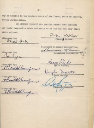 Document Signed, 9 pp, 4to, August 28, 1950, New York City. PRESTON STURGES, FERENC MOLNÁR