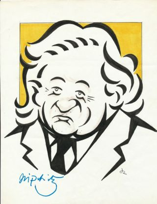 "Original drawing by Rosen of Lipschitz, initialled by Rosen and Signed ""Lipschitz"" by the..."