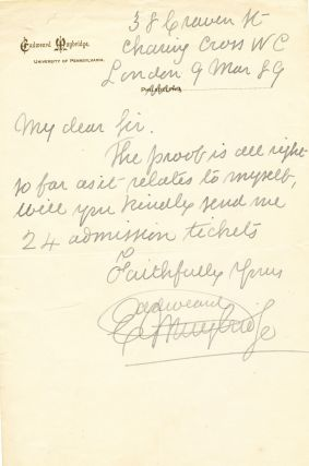 Scarce Autograph Letter Signed, on University of Pennsylvania letterhead, but penned from London,...