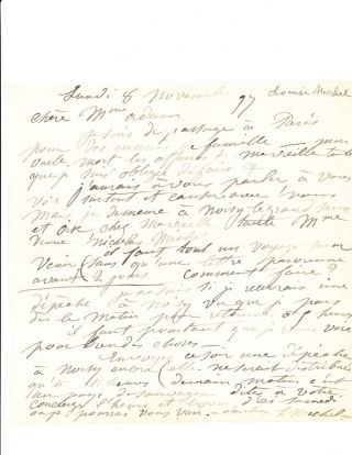 Early Autograph Letter Signed, in French, small 4to, n.p., [Paris] November 8, 1897. LOUIS MICHEL EILSHEMIUS.