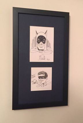 Two original signed pen and ink drawings, 8vo and small 8vo n.p., 1993. Framed together. BOB KANE.