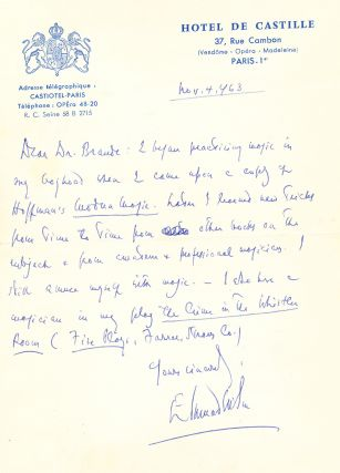 "Autograph Letter Signed, on emblematic ""Hotel de Castille,"" stationery, Paris, Nov. 4, 1963...."