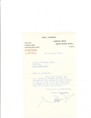 Typed Letter Signed, 8vo, on personalized printed address stationery, London, August 5, 1955. NOEL COWARD.