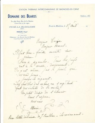 "Autograph Letter Signed, in French, on ""Domaine Des Buards"" stationery, 4to, Bagnoles, August..."