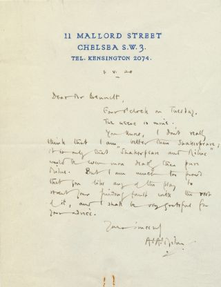 Early Autograph Letter Signed, 8vo, on personalized address stationery, London, May 1, 1920. A....