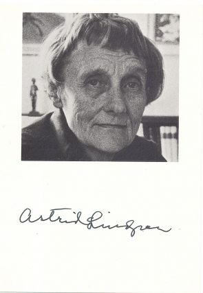 Black and white Photograph Signed, 8vo, n.p., n.d. Pippi Longstocking, ASTRID LINDGREN