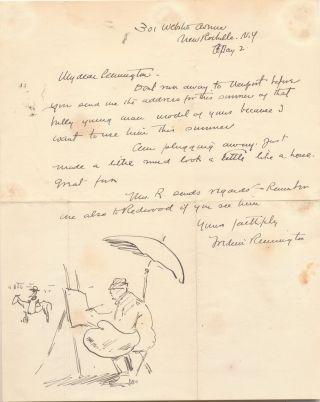 Self portrait within an Illustrated Autograph Letter Signed, New Rochelle, May 2.