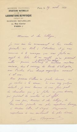 "Substantive Autograph Letter Signed, in French, on National Museum, ""Laboratoire de Physique""..."