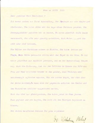 Typed Letter Signed, in German, 4to, Vienna, Oct. 28, 1916. WILHELM STEKEL
