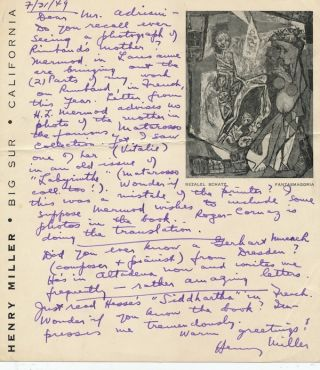 "Autograph Letter Signed, 8vo, on printed personalized stationery with an imprint of ""Fantasmagoria,"" Big Sur, California, July 31, 1949."