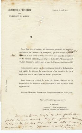 "Autograph Note Signed, in French, on flyer for the ""Association Francaise pour L'avancement des..."