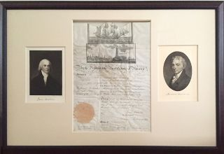 Visually Outstanding Presidential Document Signed by Two Founding Fathers of the US, James...