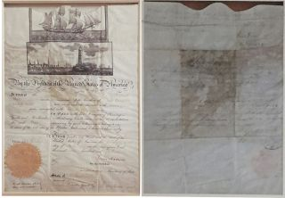 Visually Outstanding Presidential Document Signed by Two Founding Fathers of the US, James Madison as President and James Monroe as Secretary of State on parchment, folio, Washington, July 24, 1815. Framed to show both sides of the presidential document, with photogravure of each president. Archival materials used.