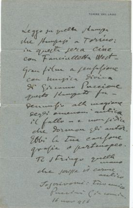 "Humorous Autograph Letter with two signatures, in Italian, on printed ""Torre del Lago"" integral..."