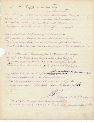Early Autograph Manuscript Signed, in French, 4to, n.p., August 29, 1908. ABEL GANCE