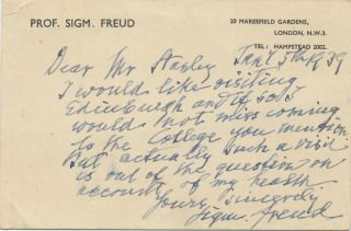 "Autograph Letter Signed with uncommon extended signature, :Sigm. Freud,"" in English,, on ""Marsfield Gardens"" printed stationery card, small 8vo, London stationery, January 5, 1939. SIGMUND FREUD."