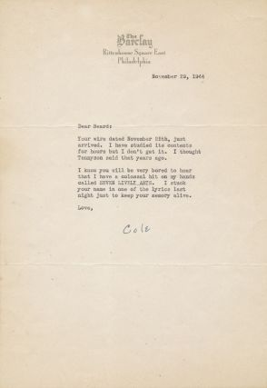 "Typed Letter Signed, 4to, on ""The Barclay"" hotel stationery, Philadelphia, Nov. 29, 1944."