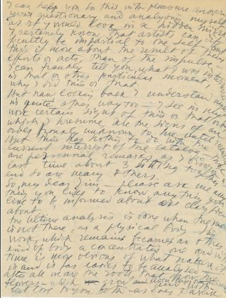 Substantial and scarce Autograph Letter Signed, to his biographer James Thrall Soby, 4pp on two 4to sheets, New York, Nov. 6, 1947.