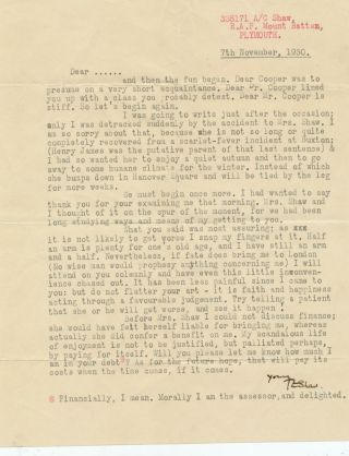 "Typed Letter Signed, 4to, on stamped ""R.A.F. Mount Batten, Plymouth,"" stationery, Nov. 7, 1930. T. E. aka LAWRENCE of ARABIA LAWRENCE, T. E. Shaw."
