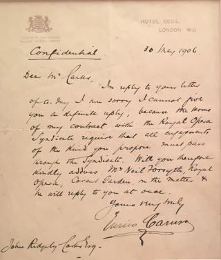 "Autograph Letter Signed, in English, on emblematic, ""Hotel Cecil"" stationery, 4to, London, May 30, 1906."