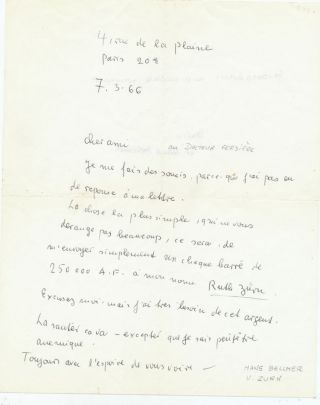 Rare Autograph Letter Signed signed by both artists, written by Zurn, 2pp on one 8vo sheet, in...