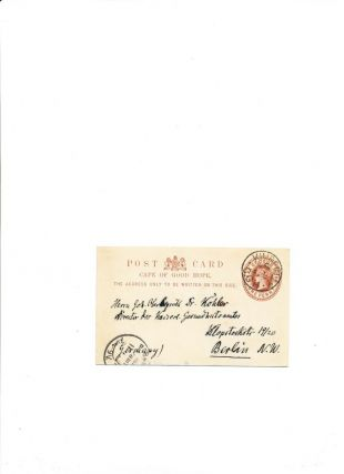 Autograph Letter Signed, in German on a government postcard, Kimberly, South Africa, March 22, 1897.