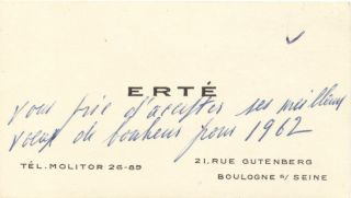 """A rare signed image of a young Erte. Original Photograph Signed, 8vo, attached to a folio board, stamped on verso, """"Harper's Bazar, 1/15/19"""". With Autograph Note unsigned, in French, on his business card, 1962."""