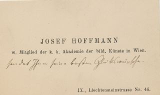Autograph Note in German, Unsigned on visiting card with envelope. JOSEF HOFFMANN