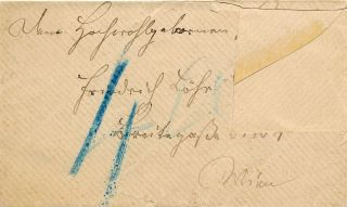 Autograph Note in German, Unsigned on visiting card with envelope.