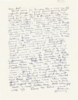 Substantial Autograph Letter Signed, 8vo, on verso of ALS by wife Eve McClure, Vienne, France, March 7, 1953. HENRY MILLER.
