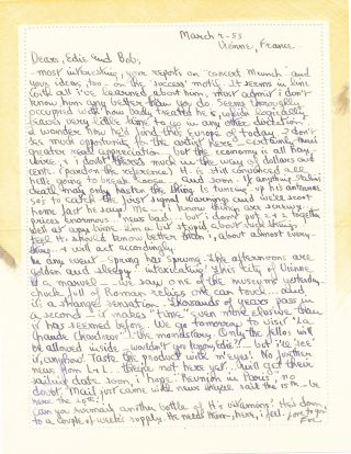 Substantial Autograph Letter Signed, 8vo, on verso of ALS by wife Eve McClure, Vienne, France, March 7, 1953