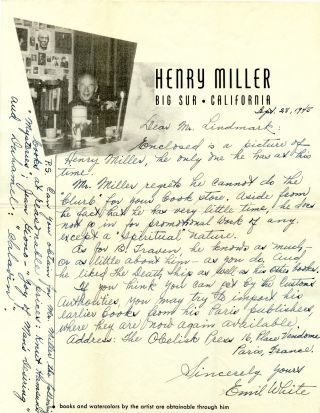 Signed Photograph, 12mo original photograph, Big Sur, August 1949; plus TLS on 4to brown paper, n.p., n.d., with autograph letter on Miller's behalf by Emil White on Miller's 4to Big Sur stationery, Sept. 28, 1945.