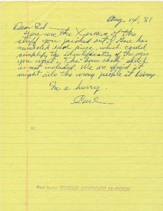 "Autograph Letter Signed, on yellow lined paper rubber stamped ""Carl Barks' UNCLE SCROOGE McDUCK,""..."