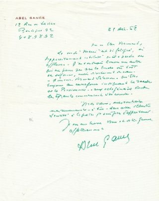 A.L.S., in French, 4to, 12 rue de Sevres, 25 Dec. '68. ABLE GANCE