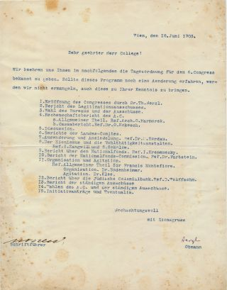 Typed document signed, Program for the Sixth Zionist Congress, in German, 4to, Vienna, June 18, 1903. THEODOR HERZL.