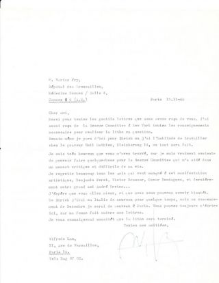 Typed Letter Signed, one page, in French, with translation, Paris, 15 November 1966