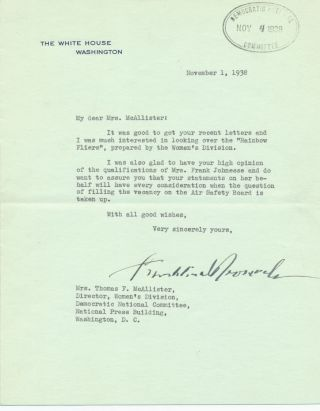 Typed Letter Signed, on White House mint green stationery, Washington, D C, Nov. 1, 1938....