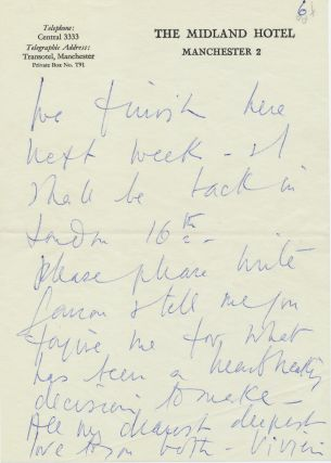 """Autograph Letter Signed to author and director, Garson Kanin Postmarked May 7, 1965, 5 separate onion skin sheets of """"The Midland Hotel"""" stationery, small 8vo, Manchester,, May 7, 1965, with holograph envelope postmarked"""