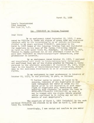 """Turnabout,"" Film Contract for Faulkner's first story-to-screen adaptation,..."