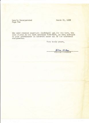 """""""Turnabout,"""" Film Contract for Faulkner's first story-to-screen adaptation, Signed, 2 4to pp, New York, March 23, 1959."""