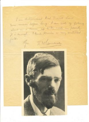 Substantial Autograph Letter Signed, in pencil, 2 separate pages, on fragile paper; with a now brittle photo attached to end page, Zennor, St. Ives, Cornwall, Friday, no date [January 12, 1917].