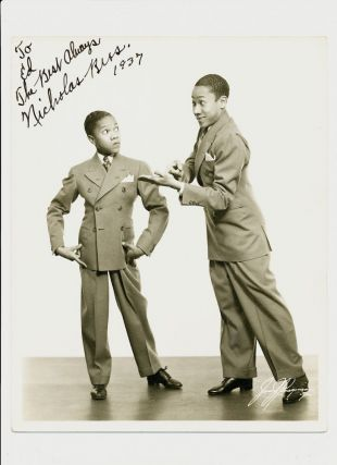 Photograph Signed and inscribed, 4to, 1937. NICHOLAS BROTHERS.